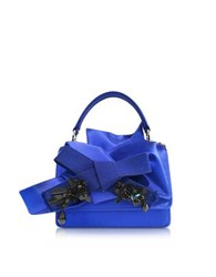 N 21 Bluette Satin Micro Crossbody Bag W Iconic Bow On Front And Black Crystals