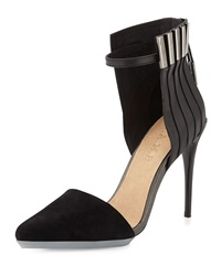 L.A.M.B. Tomas Mixed Leather And Suede Pump Black