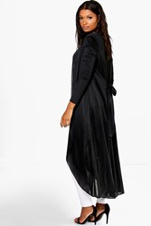 Boohoo Tie Back Collarless Slinky Maxi Duster Black