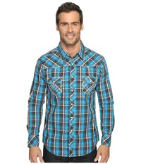 Rock And Roll Cowboy Long Sleeve Snap B2s9056 Turquoise Men's Long Sleeve Button Up Blue