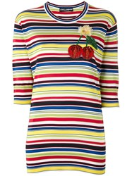 Dolce And Gabbana Cherry Red Patch Striped Top