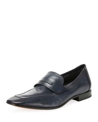 Berluti Incrociato Leather Loafers Navy