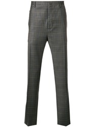 Lanvin Checked Print Tailored Trousers Grey