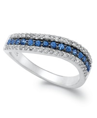 Macy's 14K White Gold Ring Sapphire 1 4 Ct. T.W. And Diamond 1 4 Ct. T.W. Wave Band