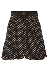 Marc Jacobs Pleated Polka Dot Silk Crepe De Chine Shorts Black