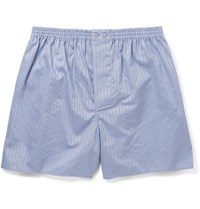 Zimmerli Striped Mercerised Cotton Boxer Shorts Blue