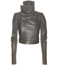 Rick Owens Cropped Leather Jacket Grey