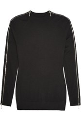 Alexander Wang Zip Detailed Merino Wool And Silk Blend Sweater Black