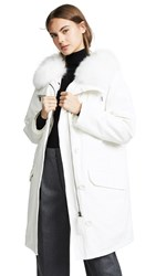 Army By Yves Salomon White Hooded Coat Cloud