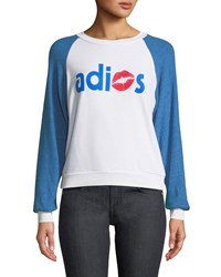 Wildfox Couture Adios Shrunken Graphic Baseball Sweatshirt Top White Blue