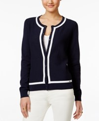 Tommy Hilfiger Pointelle Cardigan Masters Navy Classic White