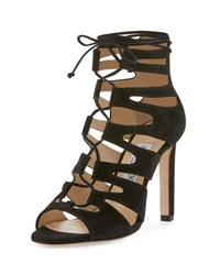 Jimmy Choo Hitch Caged Suede Sandal Black