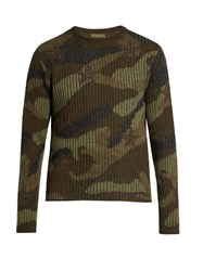 Valentino Camouflage Print Wool Sweater Green Multi