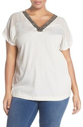Plus Size Women's Junarose 'Druske' Embellished V Neck Blouse