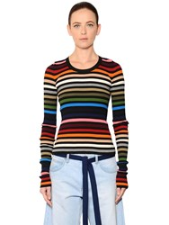 Sonia Rykiel Striped Cotton Rib Knit Sweater