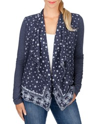 Lucky Brand Printed Open Front Cardigan American Navy
