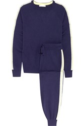 Olivia Von Halle New York Striped Silk Blend Sweatshirt And Track Pants Set Navy