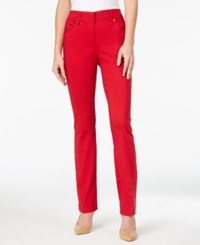 Jm Collection Curvy Fit Slim Leg Pants Only At Macy's New Red Amore