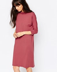 Just Female High Neck Jersey Dress In Deep Pink 958 Apple Butter