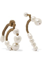 Carven Gold Tone Faux Pearl Earrings One Size
