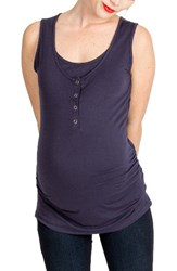 Nom Maternity Women's Henley Tank Top Navy