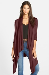 Leith Waterfall Open Front Cardigan Burgundy Stem