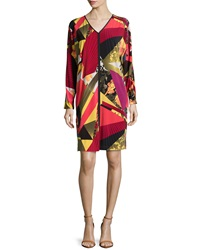 Natori Printed Jersey Kaleidoscope Long Sleeve Dress Multi
