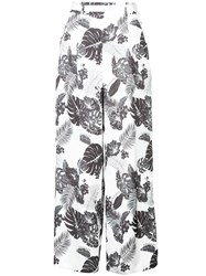 Loveless Leaves Printed Flared Trousers White