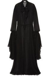 Saint Laurent Pussy Bow Pleated Silk Chiffon Gown Black