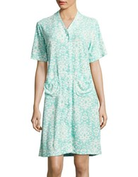 Miss Elaine Abstract Print Robe Turquoise