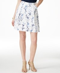 Cece By Cynthia Steffe Floral Print A Line Skirt Stone Blue