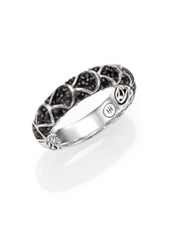 John Hardy Naga Black Sapphire And Sterling Silver Slim Dragon Band Ring No Color