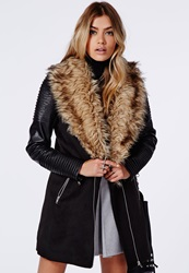 Missguided Faux Fur Leather Biker Sleeve Coat Black