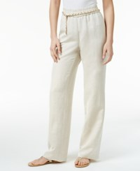 Jm Collection Petite Linen Blend Pull On Pants With Chain Belt Only At Macy's Jmc Flax