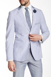 Paisley And Gray Blue Stripe 2 Button Notch Lapel Blazer