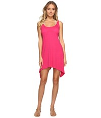 Lucky Brand Tapestry Shark Bite Dress Cover Up Raspberry Women's Swimwear Pink