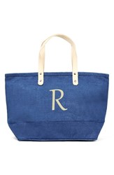 Cathy's Concepts 'Nantucket' Personalized Jute Tote Blue Blue R