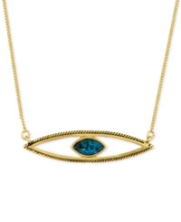 Rachel Roy Gold Tone Blue Crystal Evil Eye Pendant Necklace