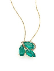Suzanne Kalan Soleil Green Onyx Diamond And 14K Yellow Gold Cluster Pendant Necklace Gold Turquoise