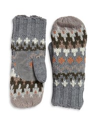 Isotoner Chevron Knit Sherpa Lined Mittens Heather Grey