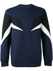 Neil Barrett Tricolored Sweatshirt Men Cotton Spandex Elastane Lyocell Wool Xs Blue
