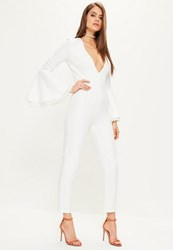Missguided White Lace Cuff Flare Sleeve Jumpsuit