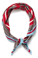 J.Crew Women's Issac Foulard Silk Scarf Red Multi