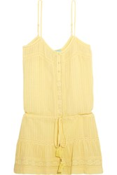Melissa Odabash Karen Lace Trimmed Cotton Mini Dress Yellow