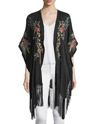 Johnny Was Peacock Kimono With Fringe Trim Women's Black