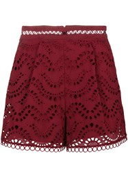 Zimmermann Broderie Anglaise Shorts Red
