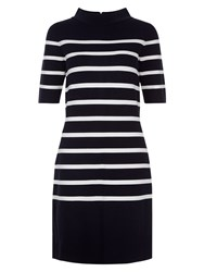 Hobbs Janie Stripe Dress Navy Ivory