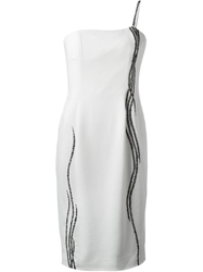Jean Louis Scherrer Vintage Waterfall Beaded Dress White