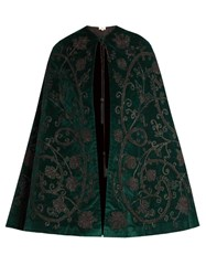 Talitha Velvet Aplique Cape Dark Green