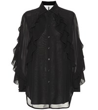 Givenchy Ruffled Silk Blend Blouse Black